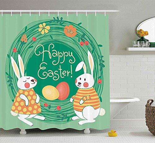Nyngei di pasqua coniglietti retrò e uova colorate in ghirlanda floreale festone di aprilevintage con motivi floreali con giada lunga verde arancione