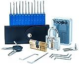 Yoopik Kit Ensemble de Crochetage Lockpicking Set Complet de 17 Pièces avec 2 Serrures d'entraînement