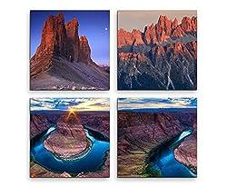 4 teiliges Leinwandbild je 20x20cm - Gebirge See Weltnaturerbe Landschaft Wasser
