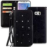 Slynmax Glitzer Schutzhülle für Samsung Galaxy S6 Edge Plus/S6 Edge+ Hülle Leder Flip Tasche Cover Wallet Case Handytasche Brieftasche Lederhülle Handyhülle Stand Karte Magnetverschluss(Schwarz)