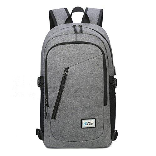 Laptop Rucksack mit USB Ladeanschluss | Fresion Oxford College Schulrucksack Jungen Mädchen Teenager Groß Schultasche für 15 zoll Notebook Lenovo (Grau) (Pack Färbung Bücher)