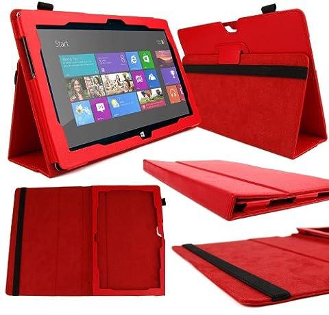 DURAGADGET Etui luxe aspect cuir rouge et stand de maintien pour Microsoft Surface 2 (Windows RT 8.1 sortie fin 2013) tablette PC hybride 10.6