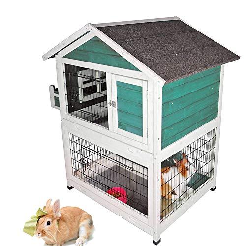 DJLOOKK Kleintierhaus Pet Indoor und Outdoor Haushäschen-Käfige, Kaninchenstall im Freien,Green