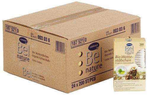 Bel Nature Bio 187521 - Bastoncini cotonati, 24 confezioni da 200 pezzi