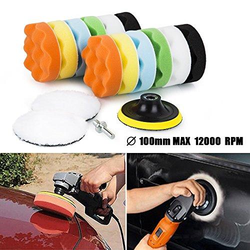 Zipom 4'' Polishing Buffing Pad Auto Car Polishers and Buffers Wax Set Pack Of 15 Pcs +M10 Drill Adapter Kit (4''-16pcs)