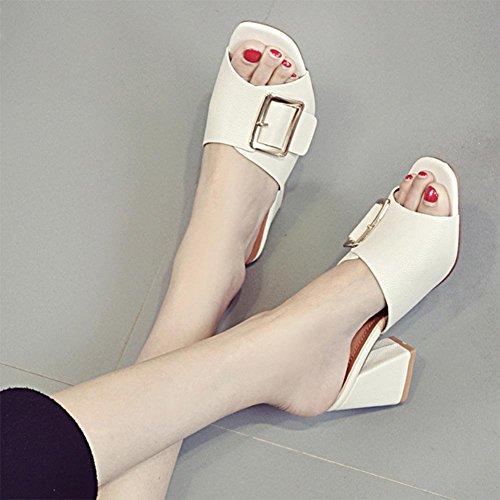 Metallschnalle Sandalen beiläufige Frauen Pantoffel Sommerschuhe meters white