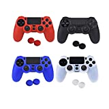 4 Colori Silicone Cover Custodia Morbida per PS4 Controller con 8 Thumb grip Accessori del Gioco