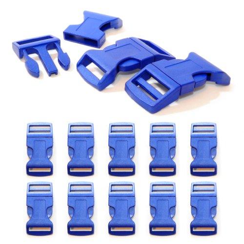 'Lot de 10 1 fermeture à clic/Fermoir à clip à douille XL (No) en plastique pour bracelets paracord, cordons etc., 65 mm x 32 mm, couleur : bleu foncé – Ganzoo