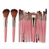 Cyond 18 Stück Makeup Pinsel Set Werkzeuge Make-up Kultur Set Wolle MakeUp Pinsel Set (Rosa)