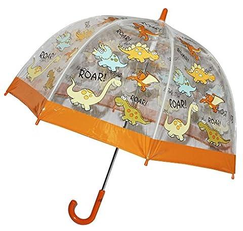 Regenschirm Dino / Dinosaurier - Kinderschirm transparent Ø 70 cm - Kinder Stockschirm - für Jungen Schirm Kinderregenschirm / Glockenschirm T-Rex Dinos durchsichtig &