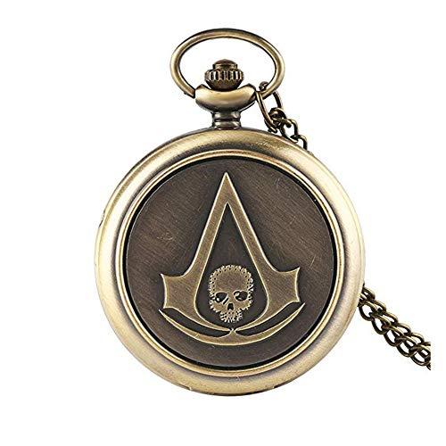Baoleiju Vintage Sword Art Online Skull Pocket Watch Halskette mit Schmuckkästchen Lange Schwert Art Online Damen-Kette (Bronze)