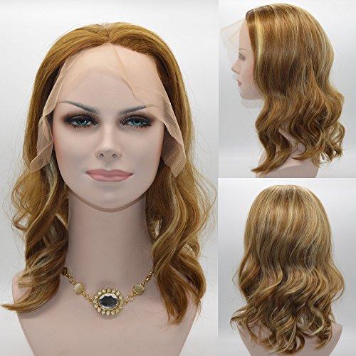 uf Fashion Body Wave Synthetik Lace Front Perücken gemischt 2Tones blond & Elfenbein für Frauen, # 27/# 613 (Two Tone Perücken)