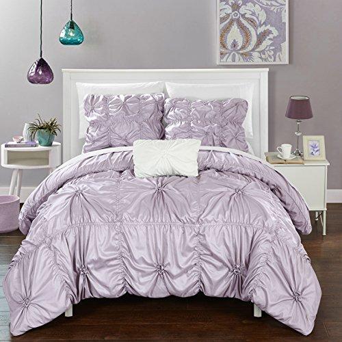 Chic Home ds2245-an 4Stück Hamilton Floral Pinch Falte Rüschen Design-verziert Bettbezug Set, Queen, Lavendel