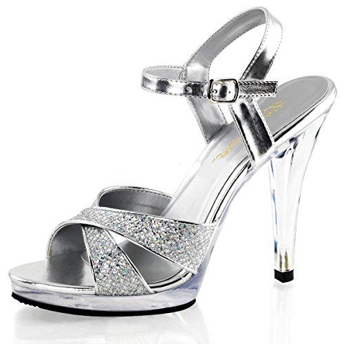6b4e6227a4151 Higher Heels Escarpins peep-toe femme - Argent - Argent, 40 EU