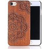Sunroyal® para iPhone 5 5S Funda Diseño de Madera para [Ultra Slim] Ligera Wood Case Cubierta Ajustada de la Contraportada Retro Carcasa Robusto de Plástico Duro con Madera para iPhone 5 5S +1x Protector de Pantalla - (Lotus)
