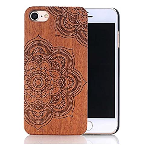 iPhone SE Case,iPhone 5S Case,iPhone 5 Case,Sunroyal Natural Hybrid Real Wood Bamboo and Hard PC Bumper Creative Pattern Carving Design Protective Phone Case Cover For Apple iPhone 5 5S SE + Screen Protector - Lotus - Plastica Trasparente Inserti