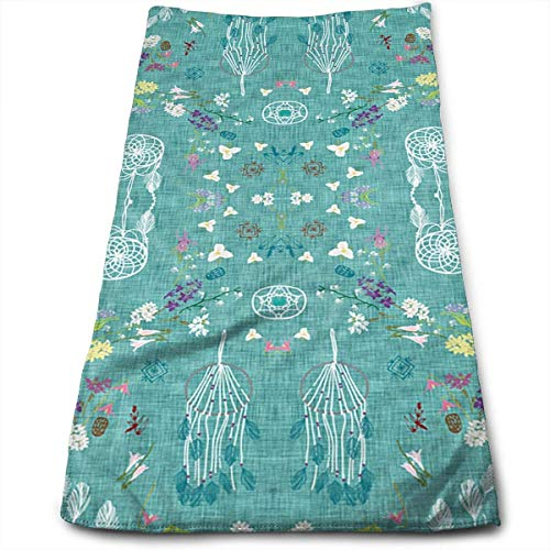 ERCGY Cotton Wildflower Dreams (Teal Linen) Dish Towels,Oversized Kitchen Towels for Drying,Cleaning,Cooking,Baking (12