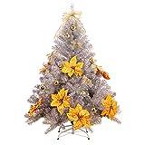 Hiskøl 150 cm ca. 450 Astspitzen Künstlicher Weihnachtsbaum Tannenbaum Christbaum inklusive Christbaumständer, silber mit Dekoration