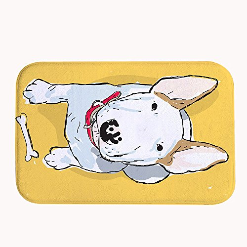 Rioengnakg Kawaii Blanc Puppy Super Absorbant antidérapant Tapis de Bain Corail en Polaire Zone Tapis Paillasson d'entrée Tapis Tapis de Sol pour Portes Avant extérieur, 20\