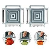 GuDoQi 2 Paquetes Pelador De Fruta Y Verdura 3 En 1 Rotativo De Forma Cuadrada Peeler Multifunción con 3 Cuchillas Herramienta De Cocina