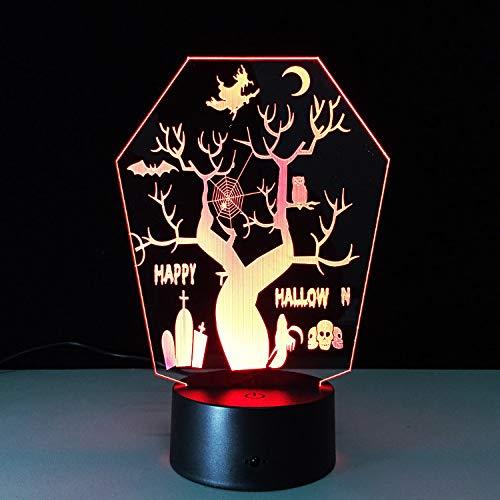 Optische Täuschungslampe Kreative Sieben farben Ändern Halloween Dekorationen Baum 3D LED Lampe Usb Nachtlicht Berührungsschalter