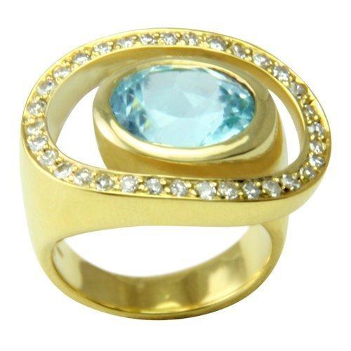 Aquamarin Ring 6,25 ct. mit Diamanten (Gelbgold 585) Aquamarinring