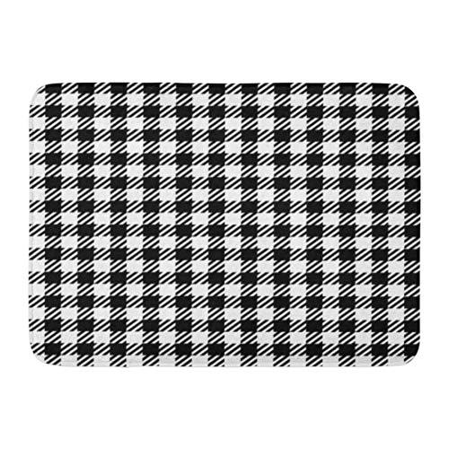 KENTONG Hill Bath Mat Checker Abstract Check Tweed White and Black Prints Imitation and Cashmere Checkered Bathroom Decor Rug 15.7