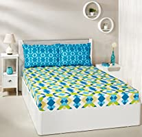 Solimo Kaleidoscope Dreams 144 TC 100% Cotton Double Bedsheet with 2 Pillow Covers, Green and Blue