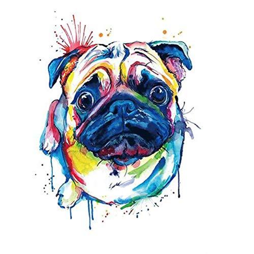 Just Fox – Tatuaje temporal, diseño de perro, multicolor