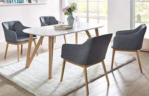 SalesFever Essgruppe weiß Eiche Aino 5-teilig, Tisch 140x90 cm, 4 x Esszimmerstühle mit Armlehnen und Stoffbezug Anthrazit