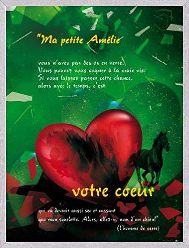 1art1 Die Fabelhafte Welt der Amelie Poster Kunstdruck und MDF-Rahmen Holzoptik Aluminium Gebürstet - Ihr Herz (80 x 60cm)