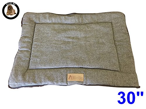 ellie-bo-reversible-tweed-and-brown-faux-fur-mat-bed-for-medium-30-inch-dog-puppy-cages-and-crates