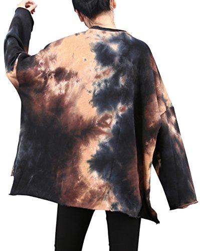 ELLAZHU Damen Fashion Rundhals Seitenschlitz Gedruckt Locker Langarm Sweatshirt T-Shirt GY1395 GY1395 Beige