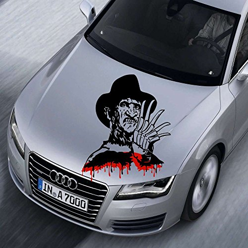 Freddy Krüger XXL Freddy Krueger XXL 80x60cm MRS.102 Aufkleber Tuning Auto Autoaufkleber freigestellt `+ Bonus Testaufkleber