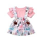 Kleinkind Kleinkind Baby Mädchen Ostern Tag Kleidung Set Kurzarm Plissee Schulter Rosa Tops + Floral Rock Baumwolle Outfit Set 2 Stück 0,5-4 Jahre (2-3 Jahre, Rosa)