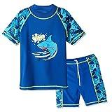 Huaaniue Badeanzug für Jungen, 3–12Jahren, Zweiteiler, 50+ UV-Schutz, Kinder, Short Navy, 7-8Y(Tag No.128/134)