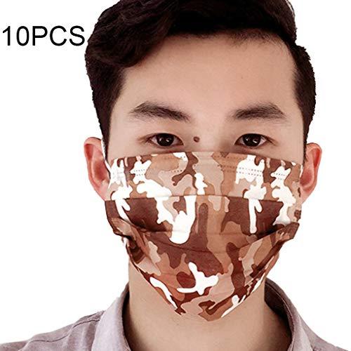 Boburyl 10PCS / Set Camouflage Pinting Einwegstaubmaske PM2.5 Gesichtsmasken Einweg-Dreischichtstaubmaske Außen PM2.5 Anti Staubmaske Mund-Maske Kit 4 -