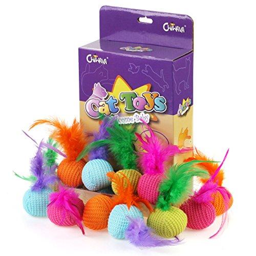 Chiwava 15 Stück 13 cm Katzenminze Katze Spielzeug Ball Weichem Ball mit Feder Interaktives...