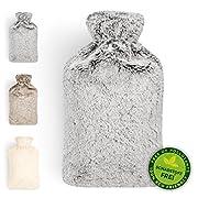Blumtal Wärmflasche mit weichem Bezug - Wärmeflasche für Nacken und Schulter, 2L, Nackenwärmflasche - grau