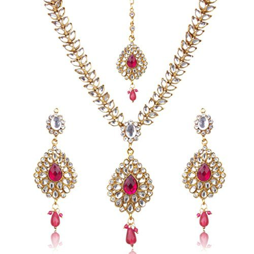 Dancing Girl Womens Sparkling Drop With Kundan Leaves Faux Pearl Indian Ethnic Necklace Set Pink