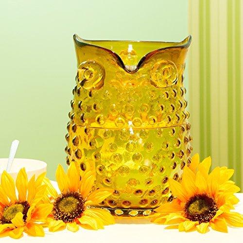 Glitzhome Handblown European Hobnail Owl Glass Vase 9.84 Inch, Amber By Glitzhome