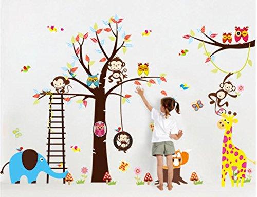 Stickerkoenig Wandtattoo Mega XXL Wandsticker Set Afrika Tiere Baum Elefant, Löwe, Affen, Fuchs Eule usw - riesige Tierwelt für Kinderzimmer #1213