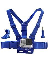 CamKix Chest Mount Harness für GoPro - Verstellbarer Brustgurt Kompatibel mit GoPro Hero4 , Hero3 + , Hero3 , Hero2 , und Hero Camera - Ebenfalls im Lieferumfang enthalten 1 J- Haken, 1 Flügelschraube , 1 CamKix Kordelzug Aufbewahrungstasche (blau)