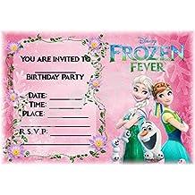 Disney Frozen cumpleaños–invitaciones para fiestas–Frozen Fever diseño de rosa–fiesta suministros/accesorios (Pack de 12invitaciones A5) WITHOUT Envelopes