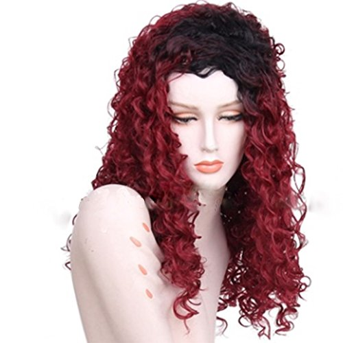 WEATLY 60cm synthetische Faser Perücke Kleine lockige Gesicht Typ lockiges Haar 260g (Color : Wine red)