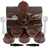 Lictin Capsule Ricaricabili Dolce Gusto - 6 Tazze Capsule per Caffè + Cucchiaio di Plastica + Spazzola