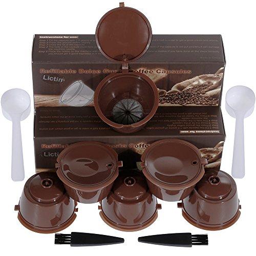 Lictin 6 Pack Cápsulas Filtros de Café Recargable Reutilizable para Cafetera Dolce Gusto Resistente Más de 150 Usos de Sustitucion de Cápsula de Café Dolce Gusto con Kit Incluye 2 Cuchara y 2 Cepillo i cafilas