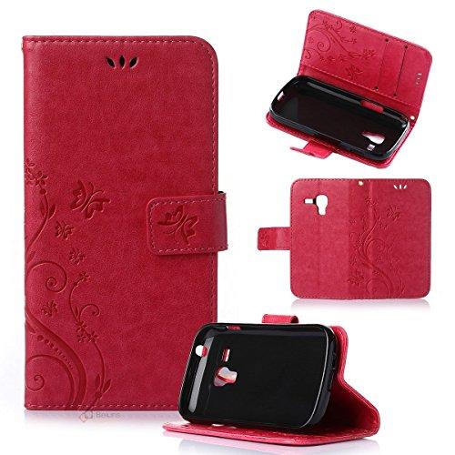 Beiuns Funda de PU piel para Samsung Galaxy Trend S7560 / Trend Plus S7580 (no para Galaxy Trend Lite S7390 / S7392) Carcasa - R155 rojo pasión