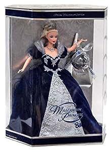 mattel BARBIE poupée blonde special millenium edition princess - robe de bal en velours bleu nuit et argent - boule d'ornement 2000 -