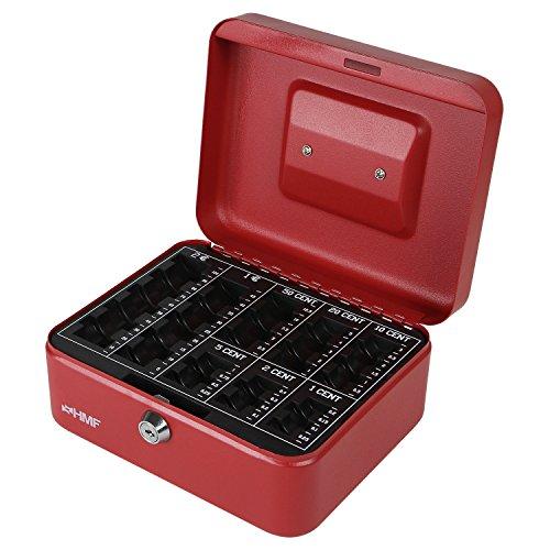 Preisvergleich Produktbild HMF 308-03 Geldkassette Euro-Münzbrett 20 x 16 x 9 cm , Rot